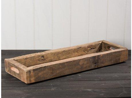 IB Laursen Holzkiste Länglich mit Griffen UNIKA 60 cm Kiste aus Holz echtes Unikat Shabby Chic Dekoration