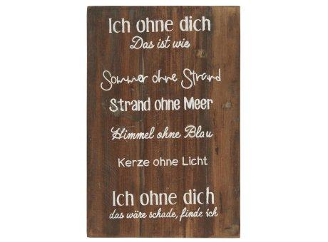 IB Laursen Holzschild Ich ohne Dich 30x45 cm IB Laursen Schild Nr 5296-00