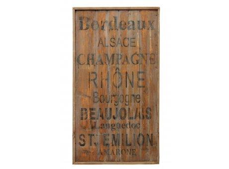 IB Laursen Holzschild Weingebiete Unika XL Schild aus Holz Unikat Wandbild mit Weinregionen 74x135 cm groß