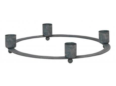 IB Laursen Kerzenhalter ADVENT Grau für 4 Kerzen 21 cm IB Laursen Stillenat Weihnachtsdeko Nr 5960-18