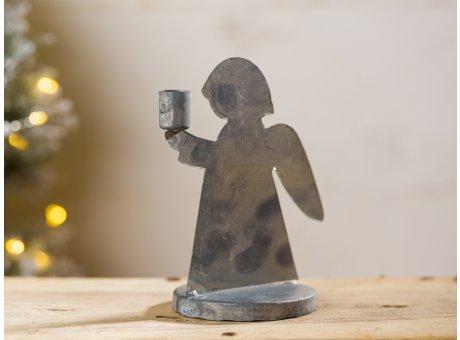 IB Laursen Kerzenhalter Engel aus Metall Grau 11 cm hoch für 1 Kerze Weihnachtsdeko für den Adventskranz oder als Schutzengel