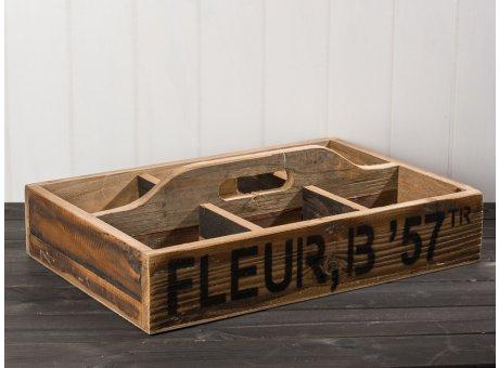 IB Laursen Kiste mit Griff und 6 Fächer aus Holz 54 cm lang 37 cm Breit Aufbewahrungskiste mit Aufdruck Unikat Shabby Chic Dekoration