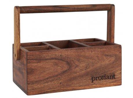 IB Laursen Kiste PROVIANT mit 5 Fächern Holzkiste Tischdeko mit Henkel IB Produkt Nr 17017