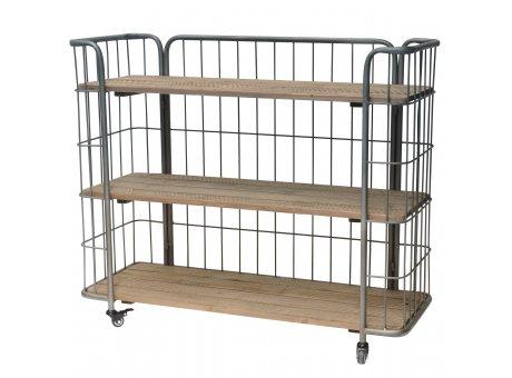 IB Laursen Konsolentisch Factory Style auf Rädern aus Metall mit 3 Holz Regalen IB Produkt Nr 8273-25