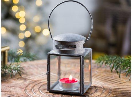 IB Laursen Laterne Klein Grau Zink Optik Windlicht Winter Advents und Weihnachtsdeko