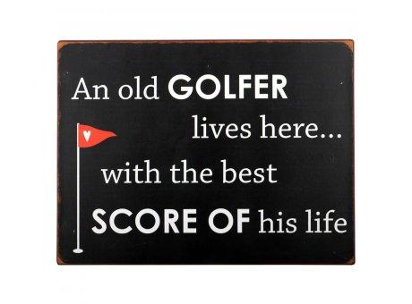 IB Laursen Metallschild an old golfer lives here Schild für Freunde des Golf Sports