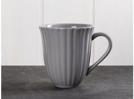 IB Laursen Mynte Becher mit Rillen Granit Grau Keramik Geschirr Serie Granite 250 ml