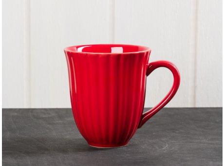 IB Laursen Mynte Becher mit Rillen rot Keramik Geschirr Serie Strawberry 250 ml