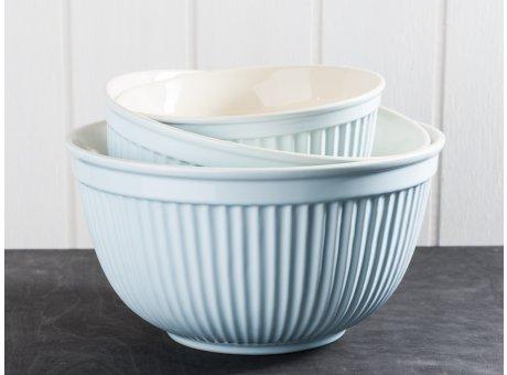 IB Laursen Mynte Geschirr Stillwater Schalensatz hellblau 3er Set Schüsseln aus Keramik blau Schalen groß