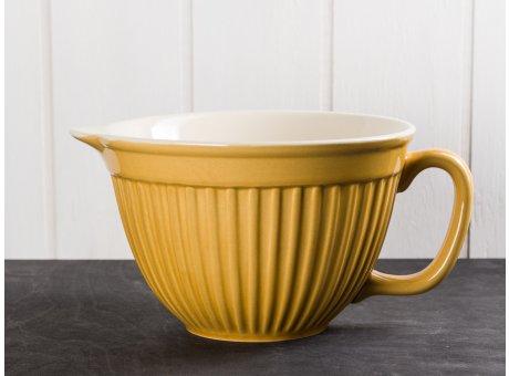 IB Laursen Mynte Rührschüssel Gelb Senfgelb mit Henkel und Ausgiesser Keramik Geschirr Serie Mustard