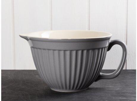 IB Laursen Mynte Rührschüssel Granit Grau mit Henkel und Ausgiesser Keramik Geschirr Serie Granite