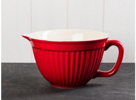 IB Laursen Mynte Rührschüssel rot mit Henkel und Ausgiesser Keramik Geschirr Serie Strawberry