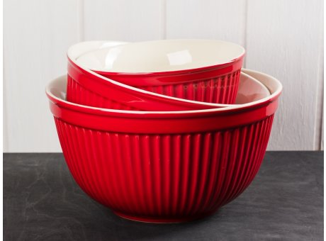 IB Laursen Mynte Schalen Satz rot 3 tlg groß Keramik Geschirr Serie Strawberry 3 Schüsseln im Set
