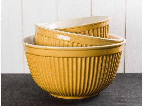 IB Laursen Mynte Schalensatz Gelb Senfgelb 3 tlg groß Keramik Geschirr Serie Mustard 3 Schüsseln im Set