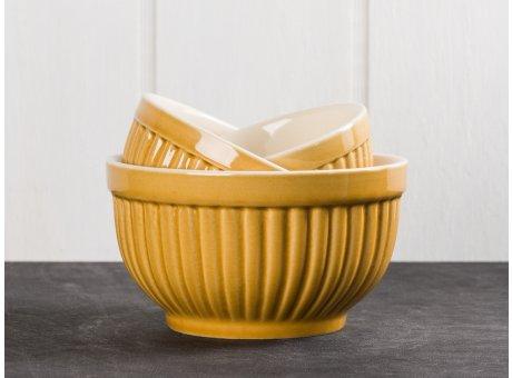 IB Laursen Mynte Schalensatz Mini Gelb Senf Gelb 3 tlg Keramik Geschirr Serie Mustard 3 Schüsseln