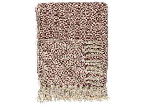 IB Laursen Plaid Harlekin Creme Ziegel Rot Baumwolle Decke 130x160 IB Produkt Nr 6509-71