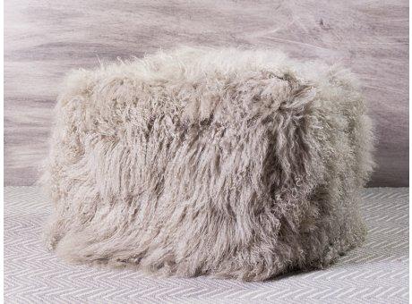IB Laursen Pouf Lammfell tibetisch hellgrau 45x45x40 cm groß