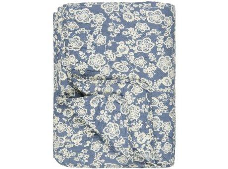 IB Laursen Quilt Blau mit Blumen Weiss 130x180 Baumwolle Ib Laursen Tagesdecke Muster Nr 0736-13