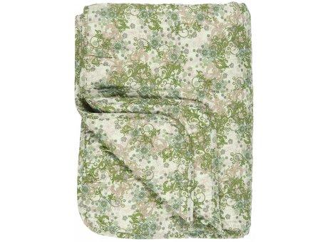 IB Laursen Quilt Grün Beige Braun Floral gemustert 130x180 Baumwolle Ib Laursen Tagesdecke Muster Nr 0738-00