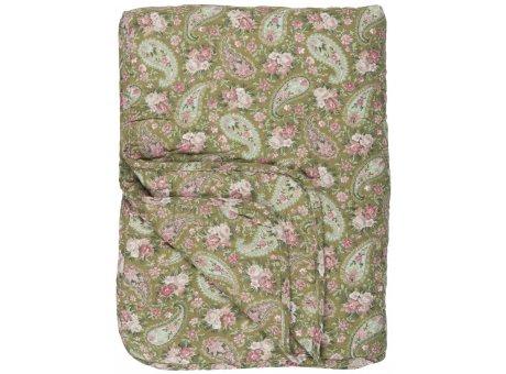 IB Laursen Quilt Grün mit Faded Rose Paisley 130x180 Baumwolle Ib Laursen Tagesdecke Muster Nr 0727-00