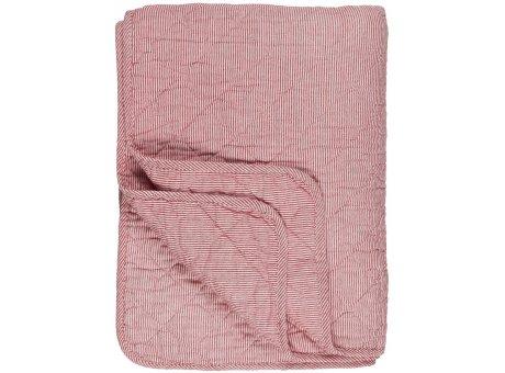 IB Laursen Quilt Rot Weiß Streifen 130x180 Baumwolle Ib Laursen Tagesdecke gestreift Nr 0788-33