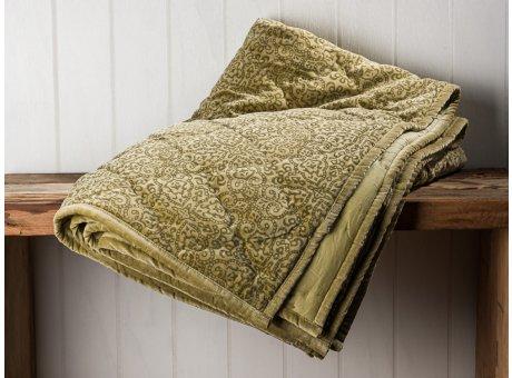 IB Laursen Quilt Velour Samt Grün Decke mit Ornament Muster und gesteppten Nähten 130x180 Kuscheldecke Tagesdecke Wendedecke
