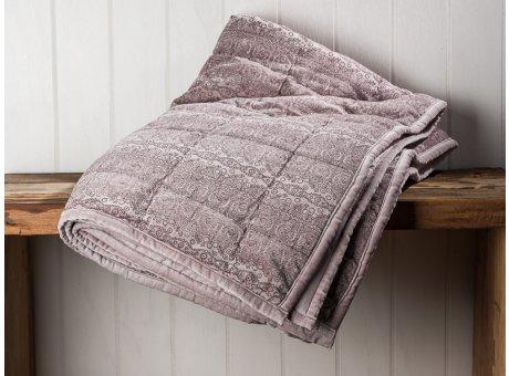 IB Laursen Quilt Velour Samt Lila Decke mit Ornament Muster und gesteppten Nähten 130x180 Kuscheldecke Tagesdecke Wendedecke