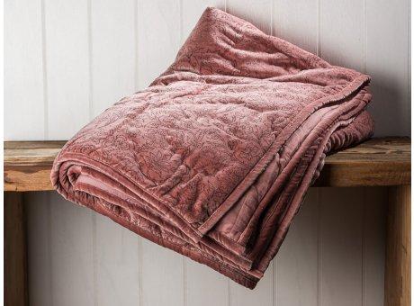 IB Laursen Quilt Velour Samt Rosa Decke mit Ornament Muster und gesteppten Nähten 130x180 Kuscheldecke Tagesdecke Wendedecke