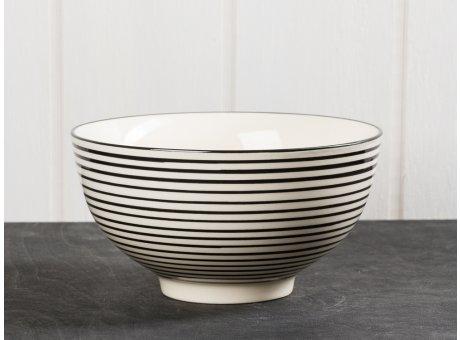 IB Laursen Schale Casablanca Streifen schwarz groß Keramik Kollektion Müslischale