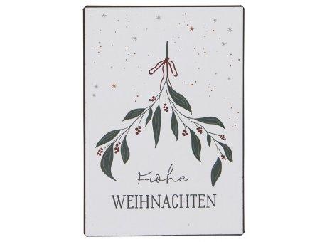 IB Laursen Schild Frohe Weihnachten mit Mistelzweig Metallschild Weihnachtsdeko zum Hängen IB Produkt Nr 70082-00