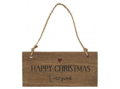 IB Laursen Schild Happy Christmas Everyone Holzschild Weihnachtsdeko zum Hängen IB Produkt Nr 3898-00