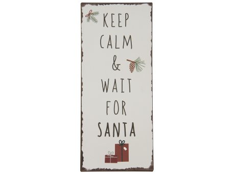 IB Laursen Schild Keep calm and wait for santa Deko Weihnachten