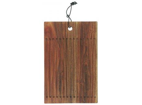 IB Laursen Schneidebrett mit Rillen aus Akazienholz geölt mit Lederband 25x38 cm