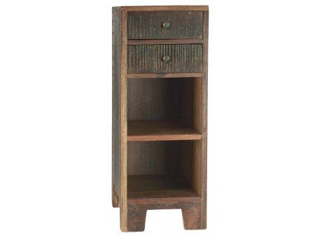 IB Laursen Schrank UNIKA Beistelltisch mit 2 Schubladen und 2 Ablagen aus Holz Kommode Braun Nachtschrank 27x71 cm IB Laursen Möbel Nr 2119-00