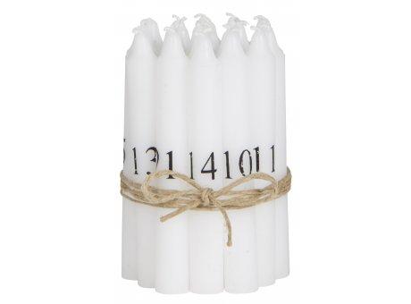 IB Laursen Tannenbaumkerzen weiß mit Zahlen 1 24 Kerzen Durchmesser 13 mm