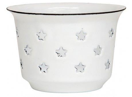 IB Laursen Teelicht Halter Emaille Weiß mit Sternen 7 cm IB Laursen Stillenat Weihnachtsdeko Nr 0413-11
