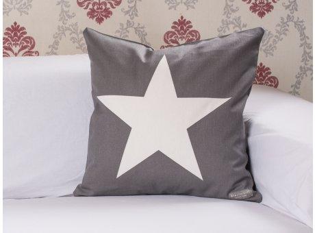 Kissenhülle Big Star dunkelgrau Stern weiss Krasilnikoff