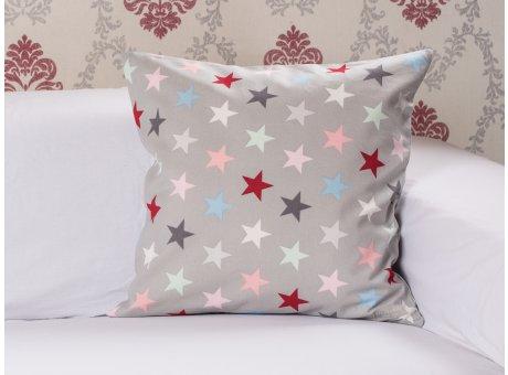 Kissenhuelle Sterne grau bunt Multi Stars Krasilnikoff