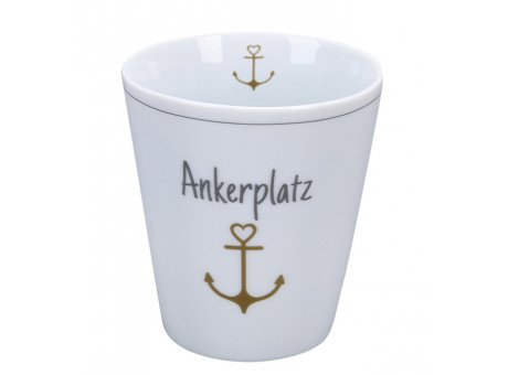 Krasilnikoff Becher ANKERPLATZ Happy Mug mit Anker in Gold 250 ml Krasilnikoff Tasse Nr HM644