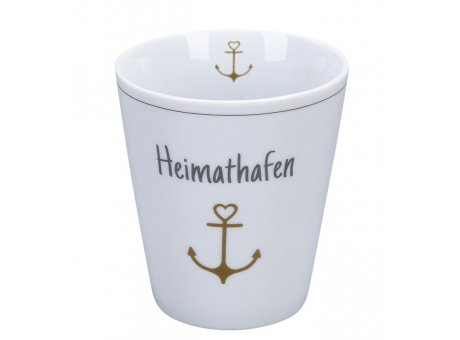 Krasilnikoff Becher Happy Mug HEIMATHAFEN mit ANKER in Gold