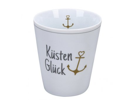 Krasilnikoff Becher Happy Mug KÜSTENGLÜCK mit ANKER in Gold