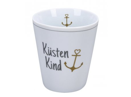 Krasilnikoff Becher Happy Mug KÜSTENKIND mit ANKER in Gold