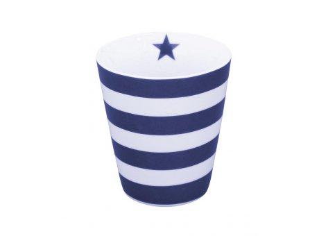 Krasilnikoff Becher Streifen Blau Weiß mit Stern Navy Blue