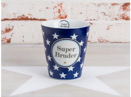 Krasilnikoff Becher Super Bruder dunkelblau Happy Mug blau mit Sternen