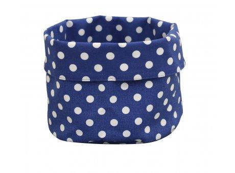 Krasilnikoff Brotkorb dunkelblau mit weißen Punkten aus Baumwolle