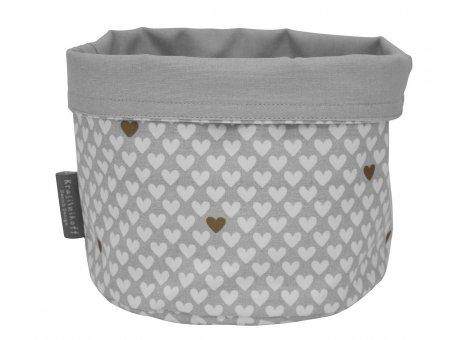 Krasilnikoff Brotkorb HERZ Grau Weiß Baumwolle mit kleinen Herzen Krasilnikoff Design Nr BB6250