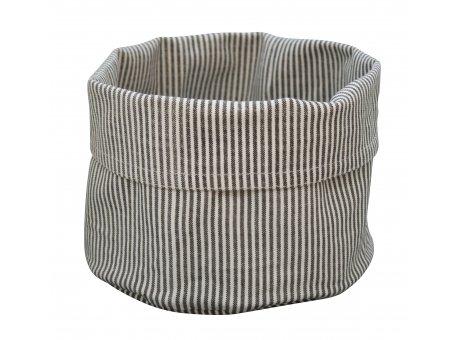 Krasilnikoff Brotkorb Nadelstreifen dunkelgrau Baumwolle Tischkorb weiß grau gestreift aus Stoff