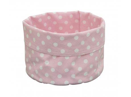 Krasilnikoff Brotkorb rosa mit weißen Punkten aus Baumwolle