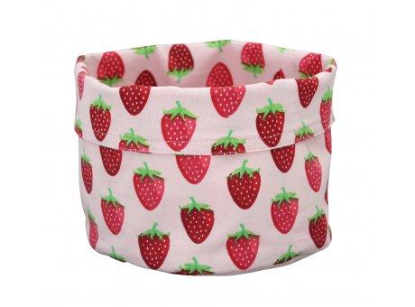 Krasilnikoff Brotkorb rosa pink mit Erdbeeren aus Baumwolle Tischkorb im Erdbeer Design aus Stoff