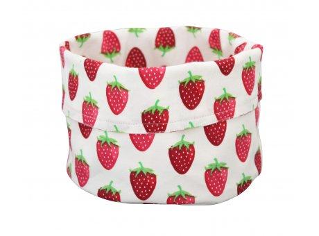 Krasilnikoff Brotkorb weiß mit Erdbeeren aus Baumwolle Tischkorb im Erdbeer Design aus Stoff